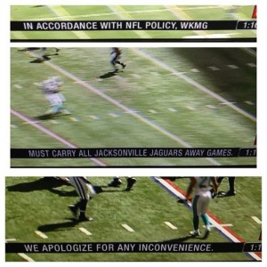 What viewers of the Jags-Raiders game saw on their TV screen yesterday.