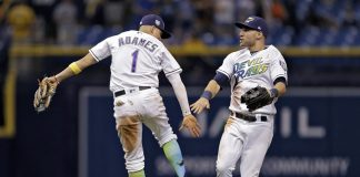 Rays Adames Celebrates Win Over Orioles With Kevin Kiermaier,