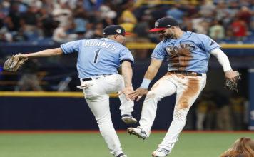 Kiermaier Adames Celebrate Win Over Yankees