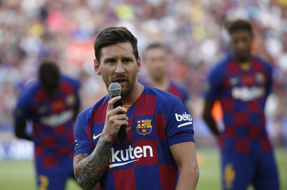 Barcelona forward Lionel Messi addresses the crowd prior of the Joan Gamper trophy soccer match between FC Barcelona and Arsenal